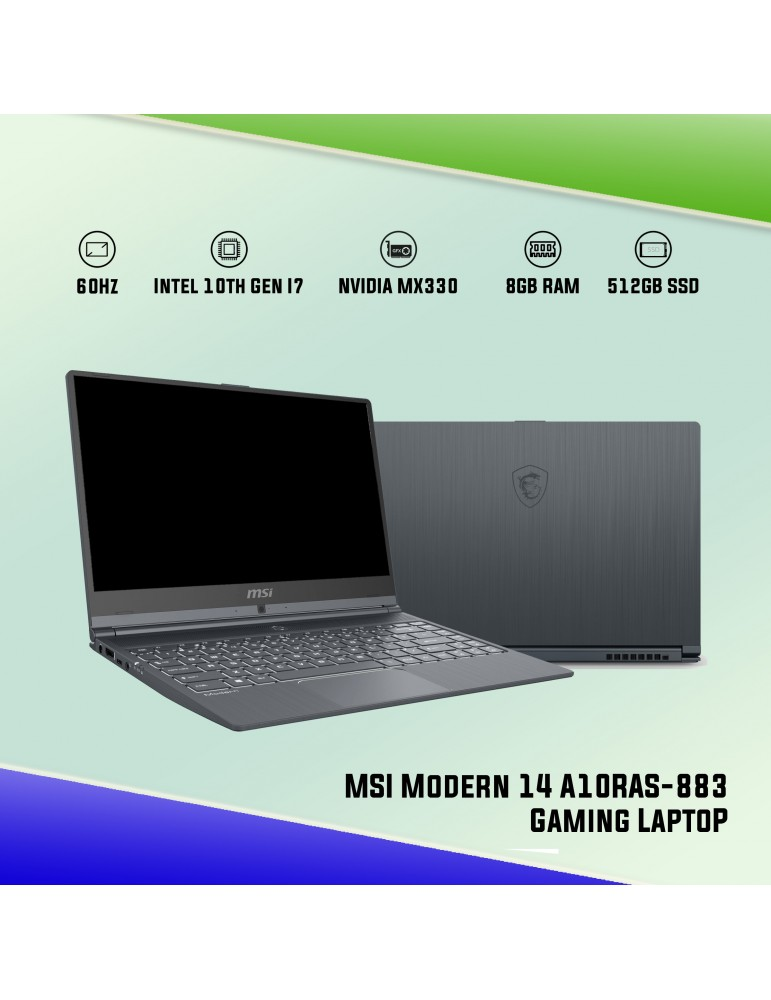 Msi Modern 14 A10ras 883 14 Gaming Laptop I7 10510u Mx330 2gb 8gb Ddr4 512gb Ssd Carbon Gray