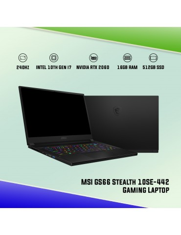 "MSI GS66 STEALTH 10SE-442 15.6"" Gaming Laptop [240Hz][i7-10875H][RTX 2060 6GB][16GB DDR4][512GB SSD][Core Black]"
