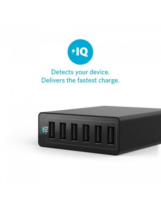 Anker 60W 6-Port Family-Sized Desktop USB Charger [Black]