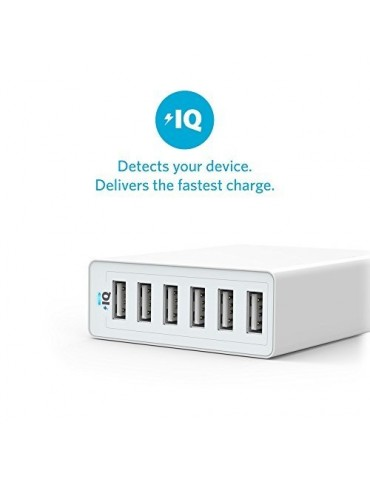 Anker 60W 6-Port Family-Sized Desktop USB Charger [White]